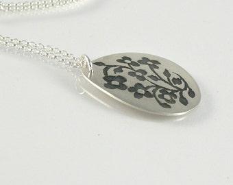 Floral Pendant, Sterling Silver Necklace, Tiny flowers pendant, Oxidized Necklace, Miniature Flowers Necklace, Teardrop Pendant Medium