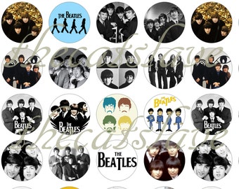 """Beatles Pins, Beatles Magnets,  Group Shots,  1"""" Flat Back, Hollow Back Buttons, Badges, Cabochons,   Pins, or Magnets 12 Ct."""