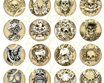 Gothic Skull Magnets Pins, Goth Wedding Favors