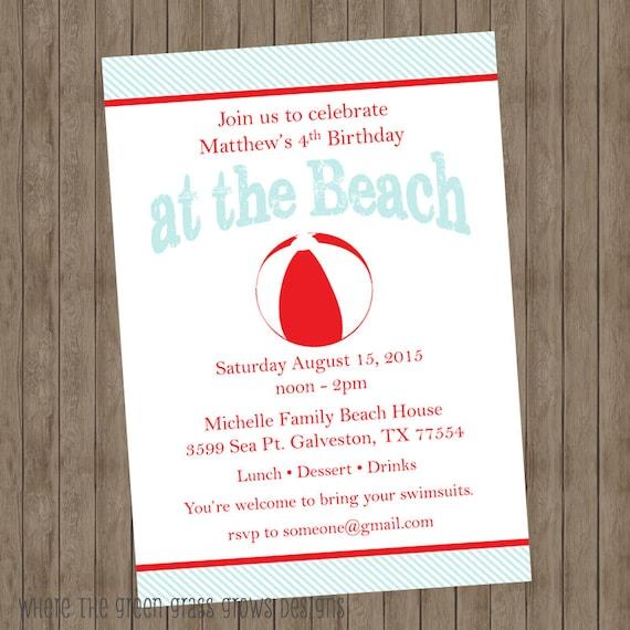Beach Party Invitations Beach Party Beach Birthday Party Invitations