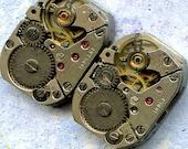 """1/2"""" x 3/4"""", 4 IDENTICAL little watch movements, best price, jewelry art, steampunk, vintage, watch parts, JunqueTreasures, WM9"""