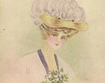 Beautiful Victorian Edwardian Lady in Fancy Hat with Nosegay of Violets – Vintage Postcard – An Artist's Model 1909