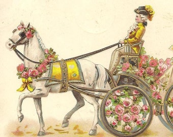 Embossed Antique Postcard White Horse Pulls Rose Decorated Carriage with Fancy Driver and Elegant Victorian Lady