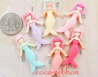 12~24pcs 42mm Mermaid Girl Princess Flatback Resin Cabochons - Choose Your Color (C01)