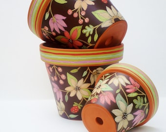 """Hand Painted Pot Succulent Planter  3 Inch Terracotta Pot """"Chocolate Floral"""" Baby Shower Favor  Made to Order"""