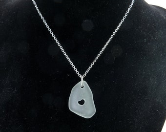 Beach Glass White Soft Pendant with Carved HEART on Sterling Silver Jumpring - Romantic Gift Sea Glass Bead Jewelry