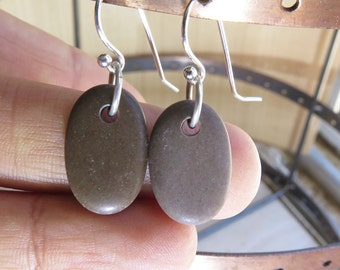Sterling Silver and Brown Beach Stone Earrings- Christmas Gift- Unusual Jewelry OOAK- Handmade Rare Pebble Earrings