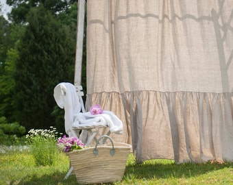 Shower Curtain Ruffled Linen