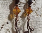 Brown and Gold Dangle Handmade Earrings Crystals and Rhinestones