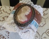 Wide Adjustable Cuff Bracelet with Vintage Lace Ribbon and an Old Cameo