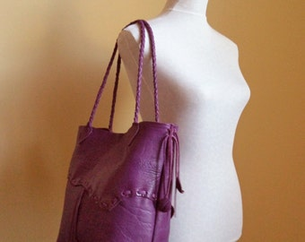 purple plum leather tote with braided straps, and leaf fringe by Tuscada Ready to ship.