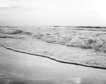 "Black And White Ocean Photography, Seascape, Waves, Shoreline, Beach Photography, Crashing Waves, Black White Decor ""Misty Waves"""