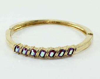 Vintage Siam Aurora Borealis Rhinestone Clamper/Bangle Bracelet