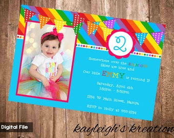 Somewhere Over the Rainbow - Party Invitation - 4x6 Digital File