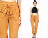 Suede Pants XS • Knot High Waisted Pants • Tapered Leather Pants • P113