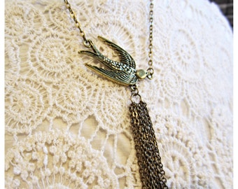 Bird fringe necklace