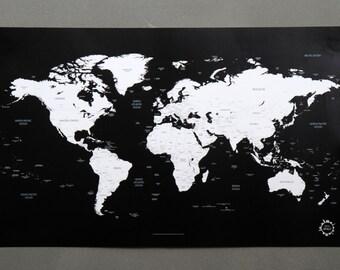 BG Black and White World Map Unique Design Poster