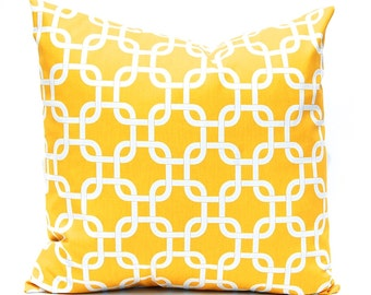 Yellow Pillows, Yellow Throw Pillow Covers, Accent Pillows, Decorative Pillows, Chain Link Pillow Covers, 18 x 18 Inches