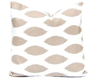 Tan Pillow Covers - Tan and White - Tan Cushion Covers - Neutral Decor - Stripe Pillow Covers - Tan Stripe - Moroccan Tile Pillow Cover