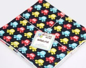 Eco Friendly Washcloth or Cloth Wipes with Soft Terrycloth -Set of 2 in Tiny Yellow Blue Red Cars
