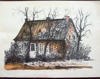 Vintage Ink and Watercolor Print from Quebec, Canada by Artist Maurius - Maison Quebecoise - Old Traditional Quebec House
