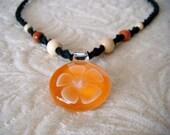 Orange on Black beaded Bloom, Indie Hemp Works, Hemp Necklace, Hemp Jewelry, Glass Pendant, Flower Necklace, Hippie, Necklace, Jewelry