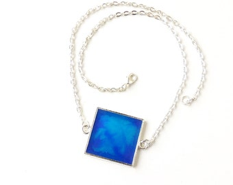 Blue Square Necklace, Short Blue Marbled Pattern Resin Pendant, Resin Jewelry Jewellery, Blue Jewellery, UK (227)