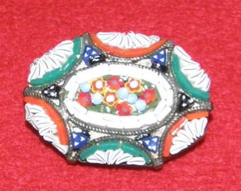 Antique Micro Mosaic Brooch Made In Italy