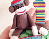Custom Sock Monkey Birthday Cake Topper Handmade