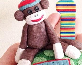 Custom Sock Monkey Birthday Cake Topper Handmade