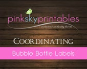 Bubble Bottle Labels coordinating with any Pink Sky Printables design
