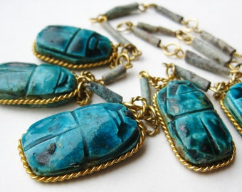 Vintage Egyptian Revival Scarab Faience Bead Cleopatra Necklace
