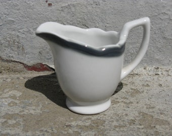 vintage wellsville china creamer gray banded cream pitcher restaurant ware ironstone art deco cottage