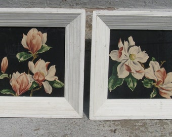 mid century magnolia blossoms prints wooden frames art deco world war II era