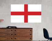 English Flag Wall Decal St. George's Cross Printed Fabric Peel and Stick Wall Cling - England Wall Art WAL-2243