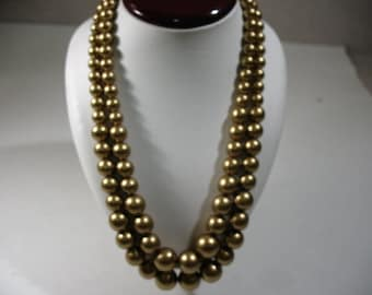 Vintage Double-Strand Necklace with Gold Tone Faux Pearl Beads