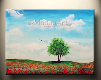 poppy field, orange poppy,tree of life,24x18inch, original modern painting, ready to hang,great for gift