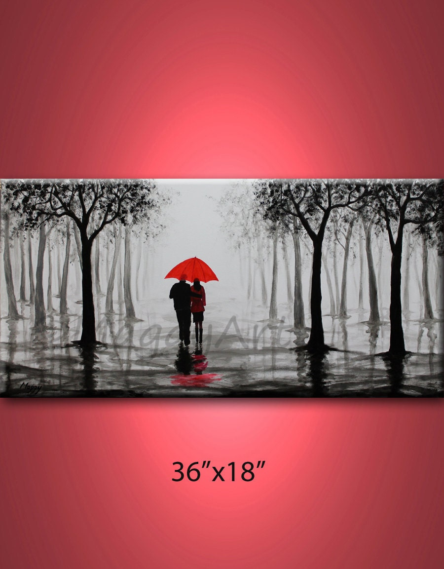 Walk in rainlove coupleblack white and redlarge original - Peinture noir et rouge ...