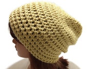 Gold Slouchy Beanie Crochet Gold Hat Slouchy Winter Beanie Unisex Gold Hat