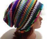 Boho Slouchy Beanie Scrap Yarn Hat Rainbow Hippy Striped Beanie