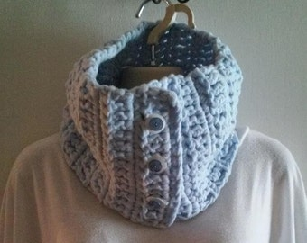 Thick and Chunky Crocheted Cowl Scarf - Sky Blue With 3 Beautiful Buttons