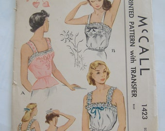 McCall 1423 Printed Pattern with Transfer, Misses' Camisoles, Size 12, Bust 30, 1948, Uncut