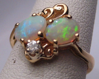Antique Australian Opal Diamond Wedding Ring Art Nouveau Deco 14K Gold