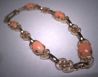 Antique Coral Bracelet Vintage Art Deco Filigree Victorian Gold