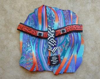 Desert Waves Kachina Mask Polymer Clay in Southwestern Colors Tribal Mask