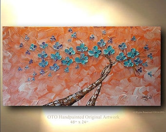 Abstract Painting Coral Aqua Flower Purple Accents Tree Painting Art Canvas oil Wall Decor Artwork Impasto Textured art by OTO
