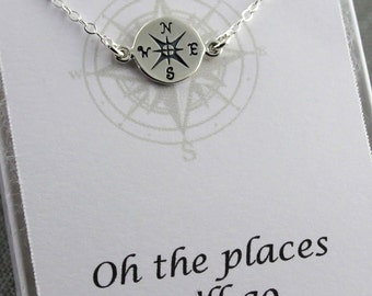 Compass Necklace - Sterling Silver - New Endeavor - Compass Guide, New Beginnings, Graduation, Friendship, Journey, Oh the Places You'll Go