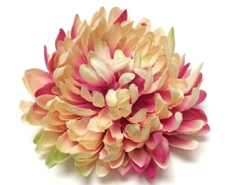 Silk Flowers - One Jumbo CREAM PINK Mum on a CLIP - 5.5 Inches - Artificial Flowers