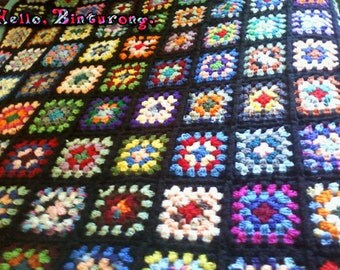 Traditional Granny Square Afghan, crochet blanket, crochet granny square blanket, colorful, unique, crochet, home decor,interior decorating
