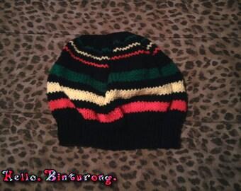 Rasta Beret, rasta hat, rasta slouch beanie, slouch hat, beret, rasta accessories, red yellow green and black, knitted hat, knitting, hat